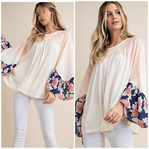 IVORY MULTI COLOR WIDE SLEEVES - Top